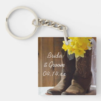 Daffodils and Cowboy Boots Country Barn Wedding Single-Sided Square Acrylic Keychain