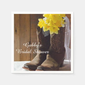 Daffodils and Cowboy Boots Country Bridal Shower Paper Napkin