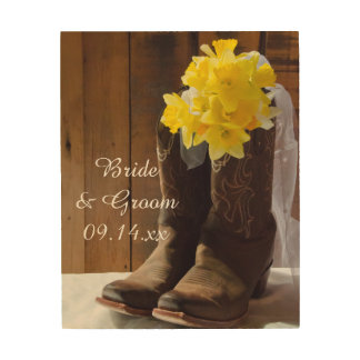 Daffodils and Cowboy Boots Country Wedding Wood Wall Art