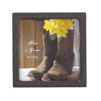 Daffodils and Cowboy Boots Country Western Wedding Gift Box