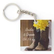 Daffodils and Cowboy Boots Country Western Wedding Keychain