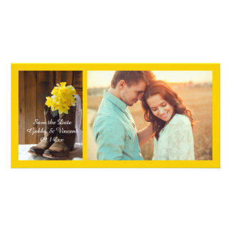Daffodils and Cowboy Boots Wedding Save the Date Card