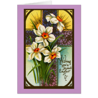 Daffodils and Cross Vintage Easter Greeting Card