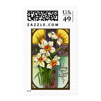 Daffodils and Cross Vintage Easter Postage