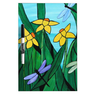 Daffodils and dragon flies Dry-Erase boards