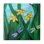 "Daffodils and dragon flies tile<br><div class=""desc"">lovely colored art with a stained glass appeal</div>"