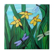 Daffodils and dragon flies tile