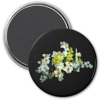 Daffodils and Liliacs 3 Inch Round Magnet