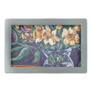 daffodils and tulips rectangular belt buckles