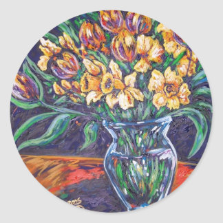 daffodils and tulips classic round sticker