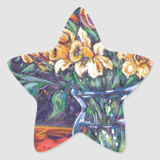 daffodils and tulips star sticker