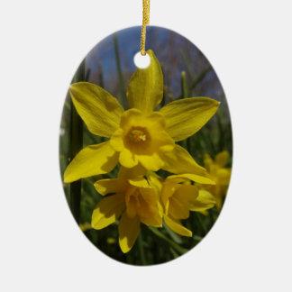 daffodils ceramic ornament