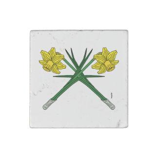 Daffodils Crossed Stone Magnet