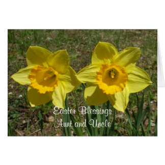 Daffodils Easter Blessings to Aunt and Uncle Greeting Cards