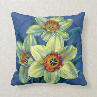 Daffodils fine art floral square pillow