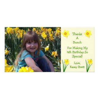 Daffodils Flowers Cream Thank You Custom Photo Card