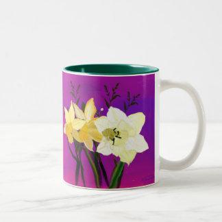 Daffodils From My Sister Two-Tone Coffee Mug