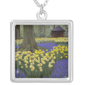 Daffodils, grape hyacinth, and tulip garden, silver plated necklace