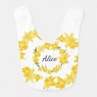 Daffodils illustration baby bib
