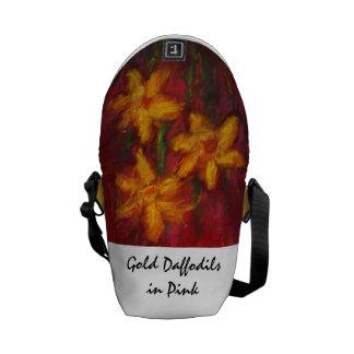 Daffodils in Pink Rickshaw Messenger Bag