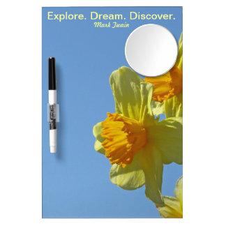Daffodils Memo Dry Erase Board w Mirror