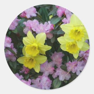 Daffodils/Narcissus/Azalea Classic Round Sticker