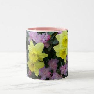Daffodils/Narcissus/Azalea Two-Tone Coffee Mug