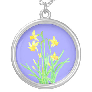 Daffodils Necklace: March Birth Month Flower Round Pendant Necklace