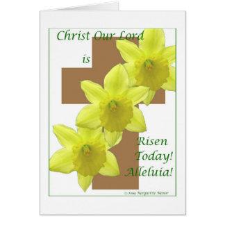 Daffodils on cross, Easter Card