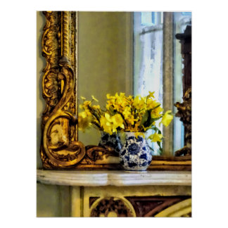 Daffodils on Mantelpiece Poster
