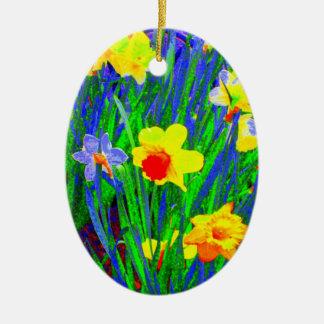 'Daffodils' Ornament Ceramic Oval Ornament