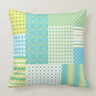 Daffodils Pillow or Cushion: Faux-patchwork