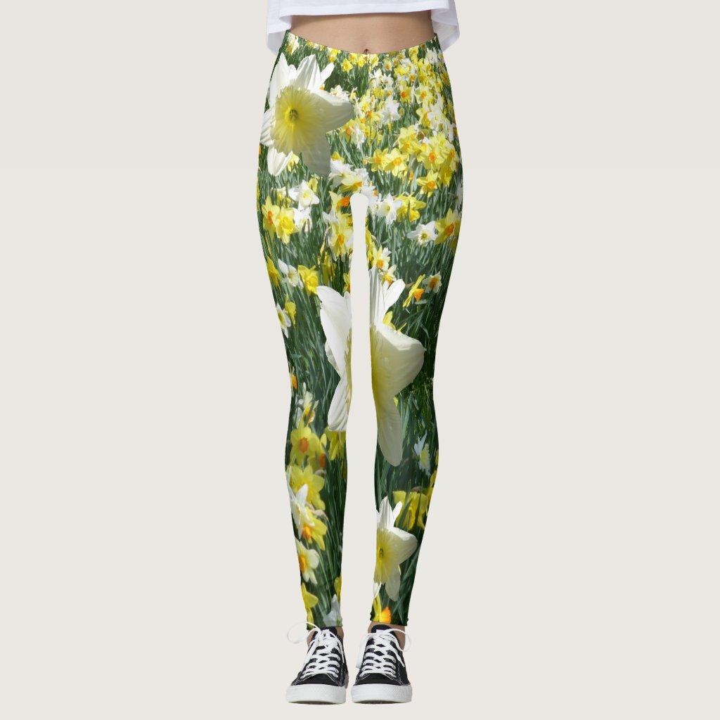 Daffodils Spring Flowers White Legging
