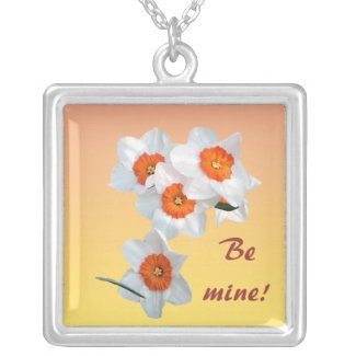 Daffodils Valentine Silver Plated Necklace
