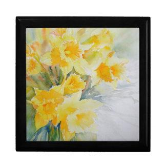 Daffodils watercolour jewellery box keepsake box