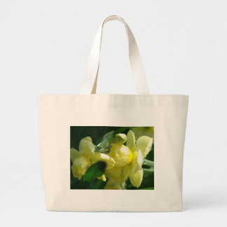 Daffodils With Water Droplets Large Tote Bag