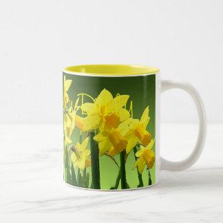 DAFFY-DOWN-DILLY by SHARON SHARPE Two-Tone Coffee Mug