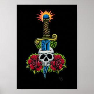 Daga, cráneo, e impresión de los rosas póster