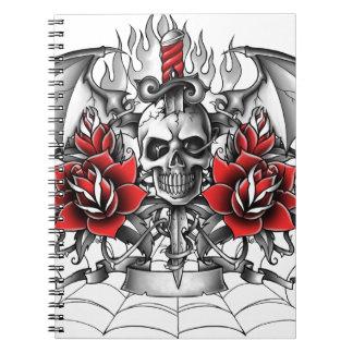 Daga del cráneo n con las alas del diablo libro de apuntes con espiral