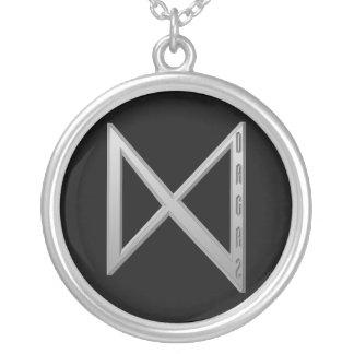 Dagaz Rune grey Silver Plated Necklace