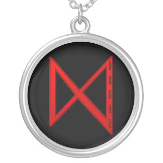 Dagaz Rune red Silver Plated Necklace