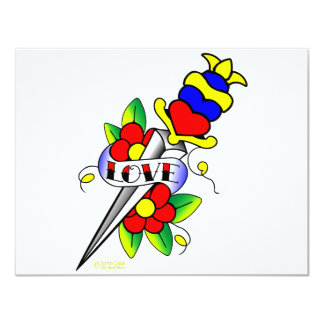 Dagger Flowers and Love Tattoo Card