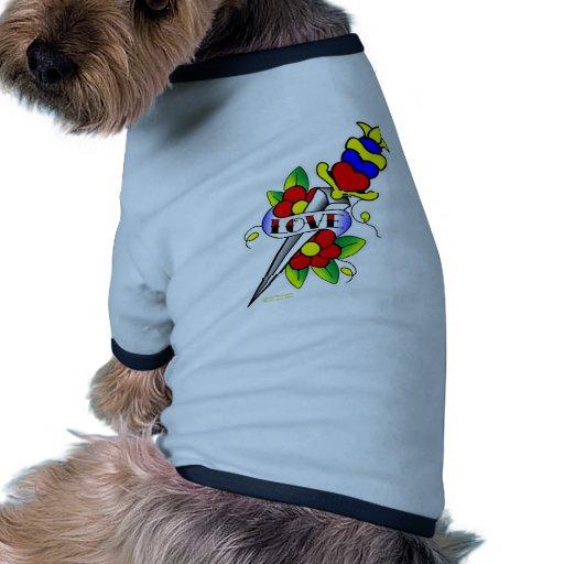 Dagger Flowers and Love Tattoo Dog T Shirt