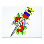 "Dagger Flowers and Love Tattoo 4.25"" X 5.5"" Invitation Card"