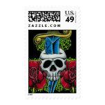 Dagger, Skull, and Roses Postage Stamp