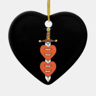 Dagger Through Hearts Christmas Tree Ornaments