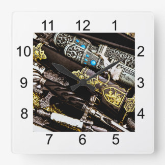 Daggers, Dirks and Sabres Square Wall Clock