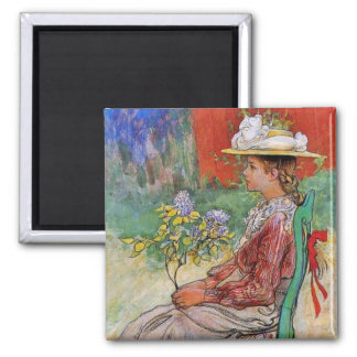 Dagmar in the Garden 2 Inch Square Magnet