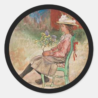 Dagmar in the Garden Classic Round Sticker