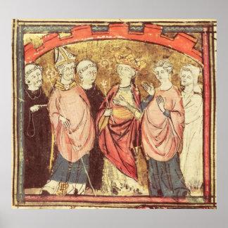 Dagobert I , King of Franks receiving the Kingdom Poster
